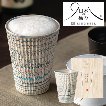 日本の極み 練り込みビアカップ 写真入りメッセージカード(有料)込【慶事用】