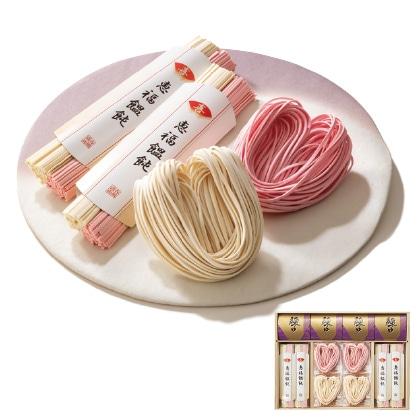 「喜」ハートの紅白祝い麺B 写真入りメッセージカード(有料)込【慶事用】
