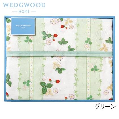 ウェッジウッド 綿毛布(毛羽部分) グリーン 写真入りメッセージカード(有料)込【慶事用】
