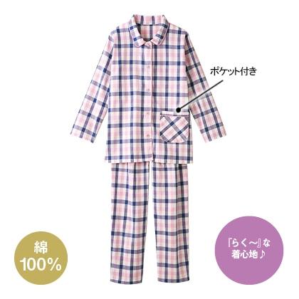 綿100%先染めパジャマ ピンク系 LL