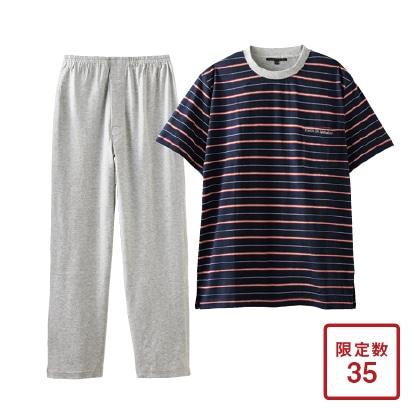 紳士天竺半袖丸首パジャマ ネイビー M