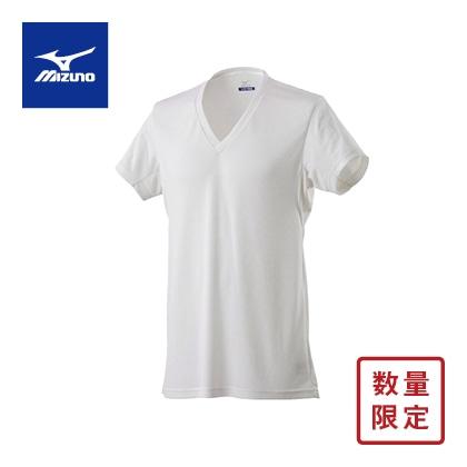 <ミズノ>アイスタッチクイックドライ Vネック半袖 メンズ 単品 ホワイトL