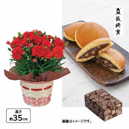 <※母の日対象商品>カーネーション(赤)&〈長崎堂〉栗入りみかさ