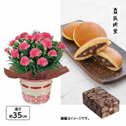 <※母の日対象商品>カーネーション(ピンク)&〈長崎堂〉栗入りみかさ