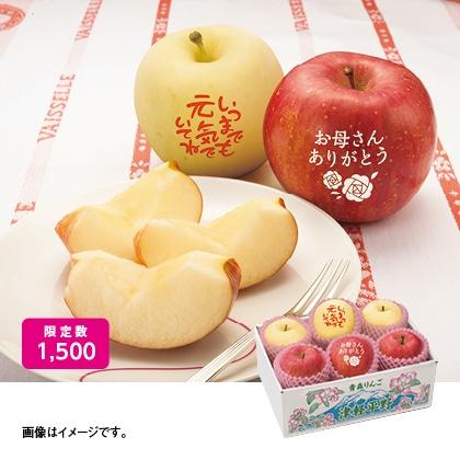 メッセージ入り白雪富士と赤い富士りんご