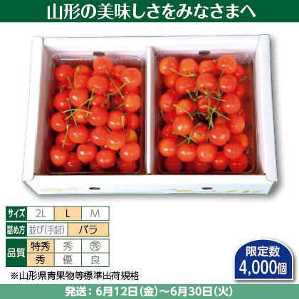 佐藤錦(26)350g(L、特秀・秀混:バラ詰)×2、 化粧箱入