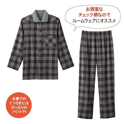暖かボア付綿100%パジャマ【男性用】(グレー系M・L)