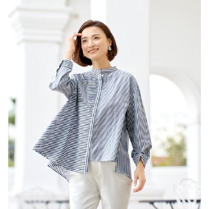 アシンメトリーデザインストライプシャツ(L)