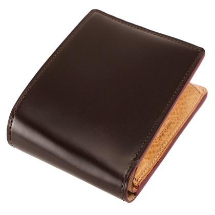 <キプリス>オイルシェルコードバン&ヴァケッタレザー 小銭入れ付き札入れ チョコ