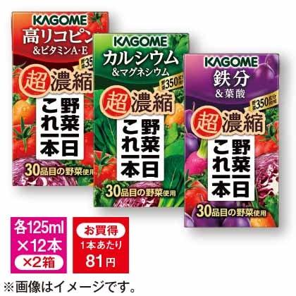 カゴメ 野菜一日これ一本 超濃縮3種セットB(72本)