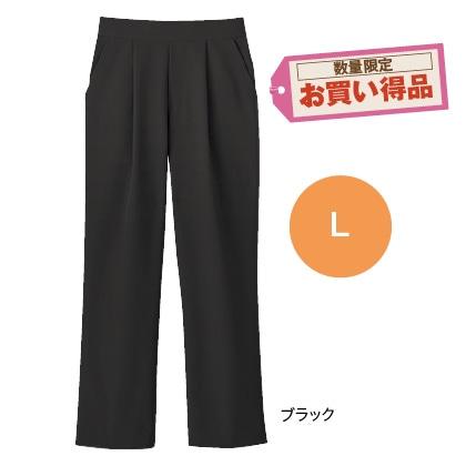 美脚ストレートクロップドパンツ(ブラック L)