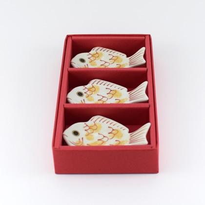 錦金叩白鯛箸置/3個ギフトセット(化粧箱)
