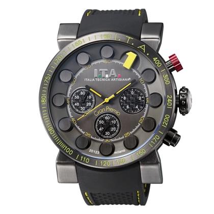 I.T.A.Gran Premio(グランプレミオ)ブラック・1インデックスイエロー・ブラックラバーストラップ【社販向け】