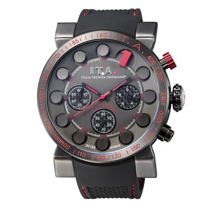 I.T.A.Gran Premio(グランプレミオ)ブラック文字盤・1インデックスレッド・ブラックラバーストラップ【社販向け】