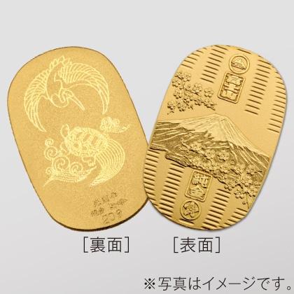 〈光則作〉純金製 富士桜小判 (大・鶴亀)
