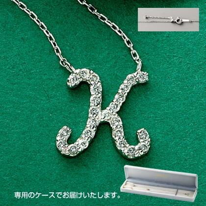Pt999ダイヤモンドイニシャルペンダント(K)