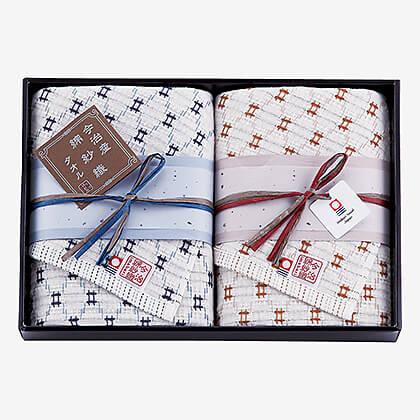 今治綿紗織(片面ガーゼ織) フェイスタオル2枚セットK