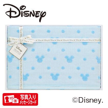 ディズニー ガーゼバスタオルS B ブルー 写真入りメッセージカード(有料)込