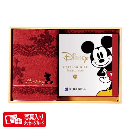 ディズニーカタログギフトセレクション スマイルS B+バスタオルセット(レッド) 写真入りメッセージカード(有料)込