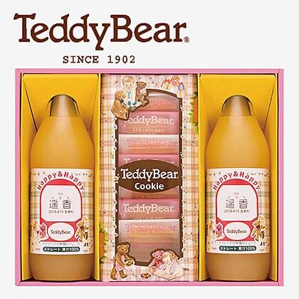 テディベアのりんごジュースと焼き菓子(お名入れ) C