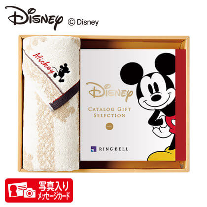 ディズニー カタログギフトセレクション スマイル コースP+フェイスタオルセット(アイボリー) 写真入りメッセージカード(有料)込