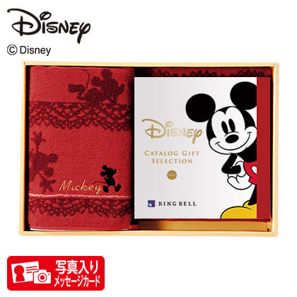 ディズニー カタログギフトセレクション スマイル コースP+バスタオルセット(レッド)写真入りメッセージカード(有料)込