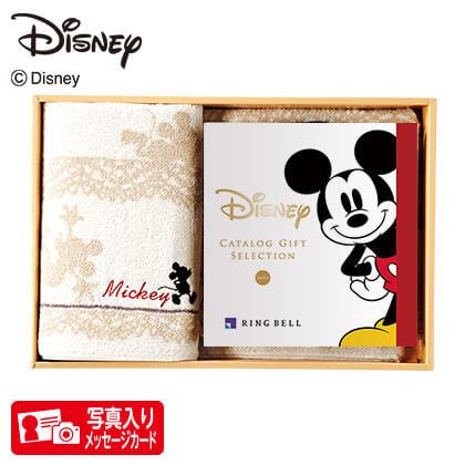 ディズニー カタログギフトセレクション スマイル コースP 写真入りメッセージカード(有料)込+バスタオルセット(アイボリー)