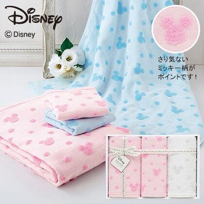 ディズニー ガーゼタオル3枚セット ピンク