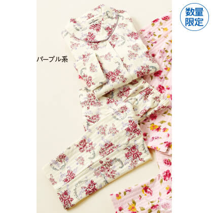 ソフトキルトローズ柄ショール襟パジャマ(パープル系・M)