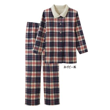暖かボア付綿100%パジャマ(ネイビー系・LL)