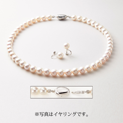 8mm玉アコヤパールネックレス&イヤリング・ピアスセット(ピアス)