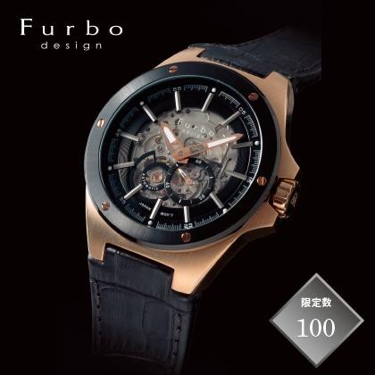 〈Furbo design〉自動巻きメンズウォッチ ブラック