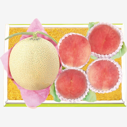 北海道産 赤肉メロン&山梨産 水蜜桃