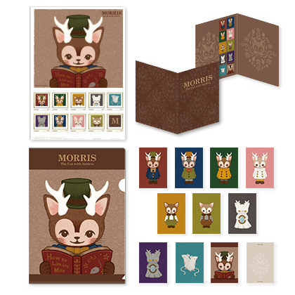 つのがはえた猫「MORRIS」フレーム切手 ポストカード&クリアファイルセット