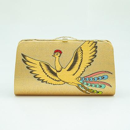 岡本織物 西陣織 チェーン付きクラッチバッグ 火の鳥