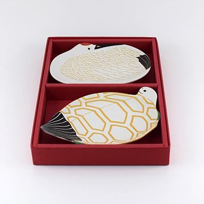 鶴&亀 銘々皿ギフトセット(化粧箱)