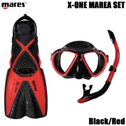 【マレス】シュノーケルセット mares X-ONE MAREA SET エックスワン マレア セット Black/Red 【シュノーケリング3点セット】 SM(22.5cm〜25.0cm)