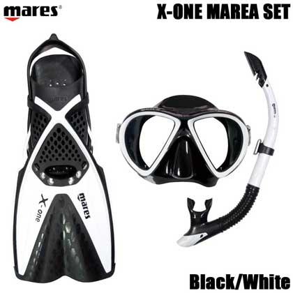 【マレス】シュノーケルセット mares X-ONE MAREA SET エックスワン マレア セット Black/White 【シュノーケリング3点セット】 ML(25.0cm〜28.0cm)