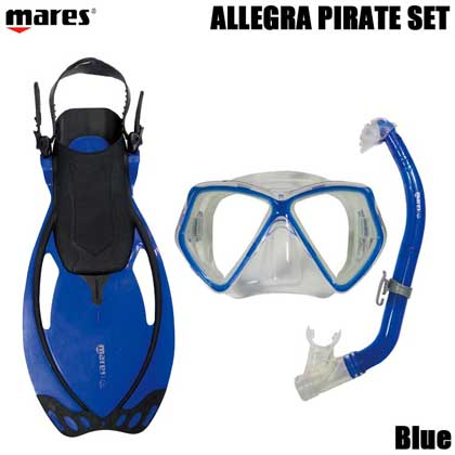 【マレス】シュノーケルセット mares ALLEGRA PIRATE SET アレグラ ピラテ セット Blue 【シュノーケリング3点セット】 LXL(20.0cm〜22.5cm)
