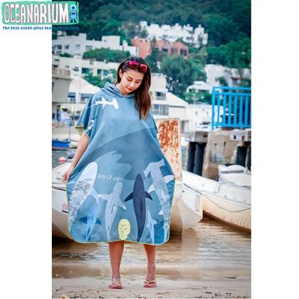 【OCEANARIUM】お着替えポンチョ(サメ) T15 SHARKS CLOAK TOWEL 85cm x 105cm