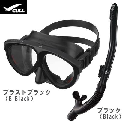 【GULL】マンティス5 ブラックシリコン + カナールドライSP シュノーケル2点セット【男性向け】 ブラストブラック