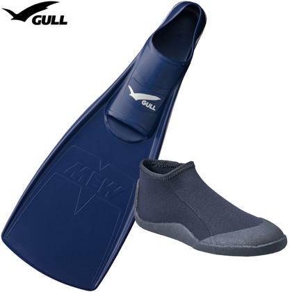 【GULL】MEW FIN (ミューフィン)+ FFショートブーツの2点セット[ミッドナイトブルー]【ダイビング用フィン】 25cm