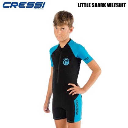 【クレッシーサブ】リトルシャークショーティ CRESSI LITTLE SHARK SHORTY キッズスーツスプリング BK/BL 11〜12