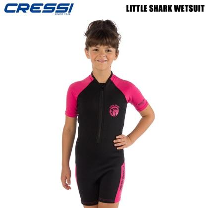 【クレッシーサブ】リトルシャークショーティ CRESSI LITTLE SHARK SHORTY キッズスーツスプリング BK/PK 9〜10