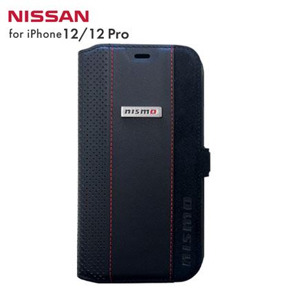 nismo アルカンターラ&本革手帳型ケース for iPhone12/12 Pro [NM-P20M-B2 BK]
