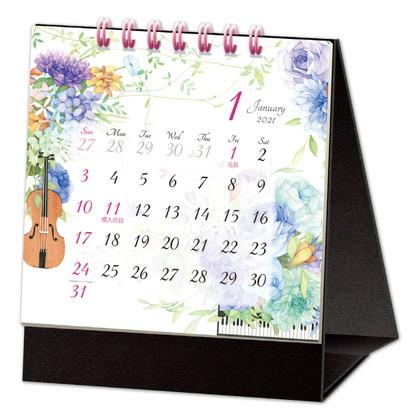 CAL−28 2021版カレンダー卓上1ヵ月 モダンフラワー SS