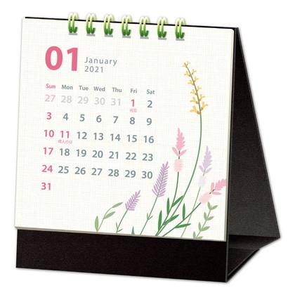 CAL−29 2021版カレンダー卓上1ヵ月 シンプルフラワー SS