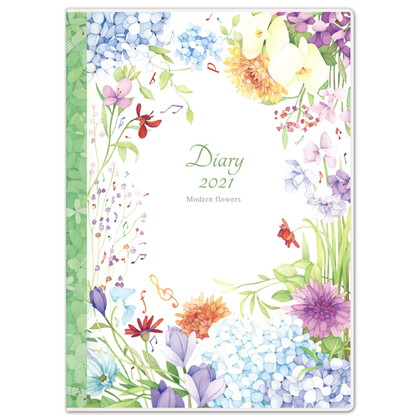 DY−06 2021版手帳モダンフラワー 音符 A5
