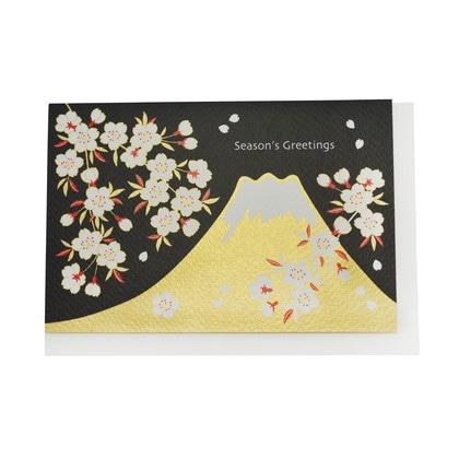 JXCD−090和風シルク印刷カード 富士山と桜