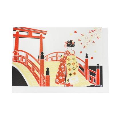JXCD−104和風シルク印刷カード 舞妓さんと太鼓橋